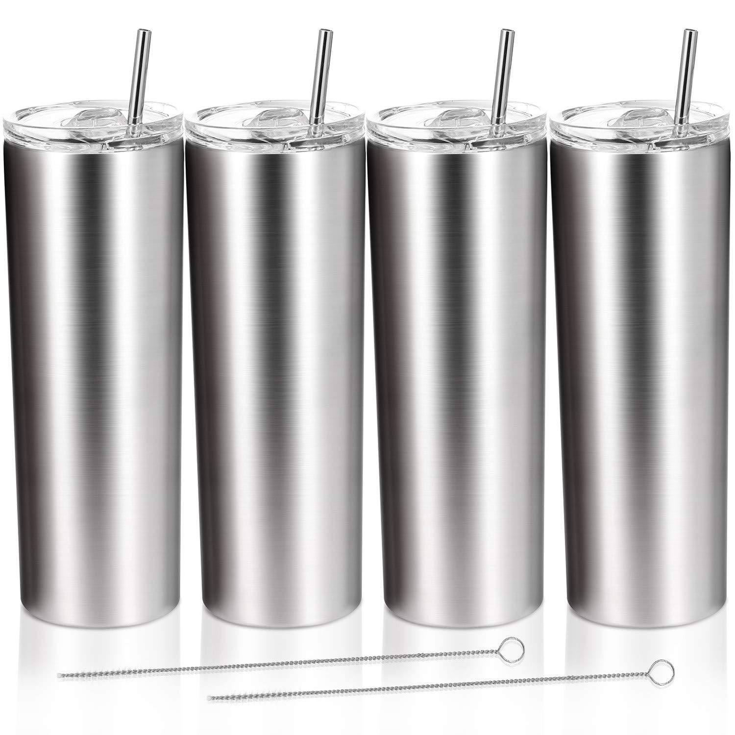 4 Pack Classic Tumbler Stainless Steel Double-Insulated Water Tumbler Cup with Lid and Straw Vacuum Travel Mug Gift with Cleaning Brush (Stainless, 20 oz)