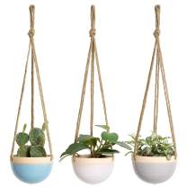 Mkono 4.5 Inch Ceramic Hanging Planter Set of 3 Colorful Flower Plant Pots Round Plant Holder with Jute Rope Hanger for Indoor Outdoor Succulent Herbs Ivy Ferns Crawling Plants, Blue, White and Gray