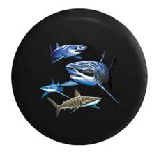 American Unlimited Herd of Great White Sharks in The Ocean Light Spare Tire Cover (Fits: Jeep Wrangler Accessories or SUV Camper RV) Black 29 in