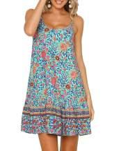 SHIBEVER Women's Summer Sexy Floral Printed Dress Adjustable Spaghetti Strap Mini Beach Casual Ruffle Swing Boho Sundress