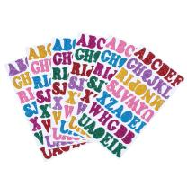 Beadthoven A-Z Glitter Foam Stickers Letters Self Adhesive for Kid's Arts Craft Supplies Christmas Greeting Cards Scrapbooks Holiday Home Birthday Party Decoration 6 Sheets 7 Colour