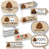 Big Dot of Happiness Funny Party 'Til You're Pooped - Poop Emoji Party Photo Booth Props Kit - 10 Piece
