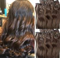 """Hair Faux You 20"""" Clip in Hair Extensions Real Human Hair 90g Clip on for Full Head 7 pieces, 14 clips, Silky Straight Weft Remy Hair Color #4 Dark Brown"""