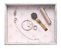 HofferRuffer Jewelry Display Tray, Desktop Organizer Tray, Storage Tray Organizer, Dresser Tray, Grey Velvet Catchall Tray for Change Coin Key
