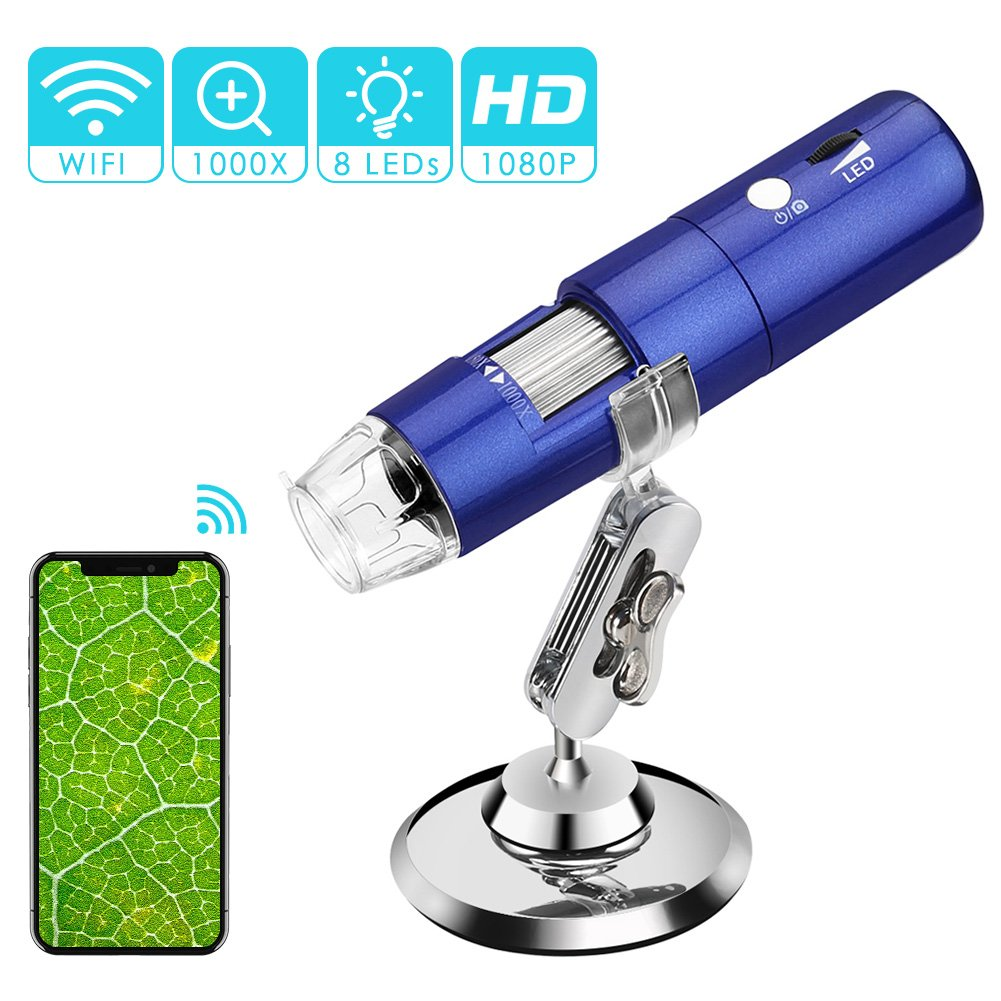 Wireless Digital Microscope, ROTEK 50x and1000x Microscope Magnification with HD 1080P 2MP Camera, Mini Pocket Handheld Microscope Camera with Light Compatible for iPhone Android, iPad Windows Mac