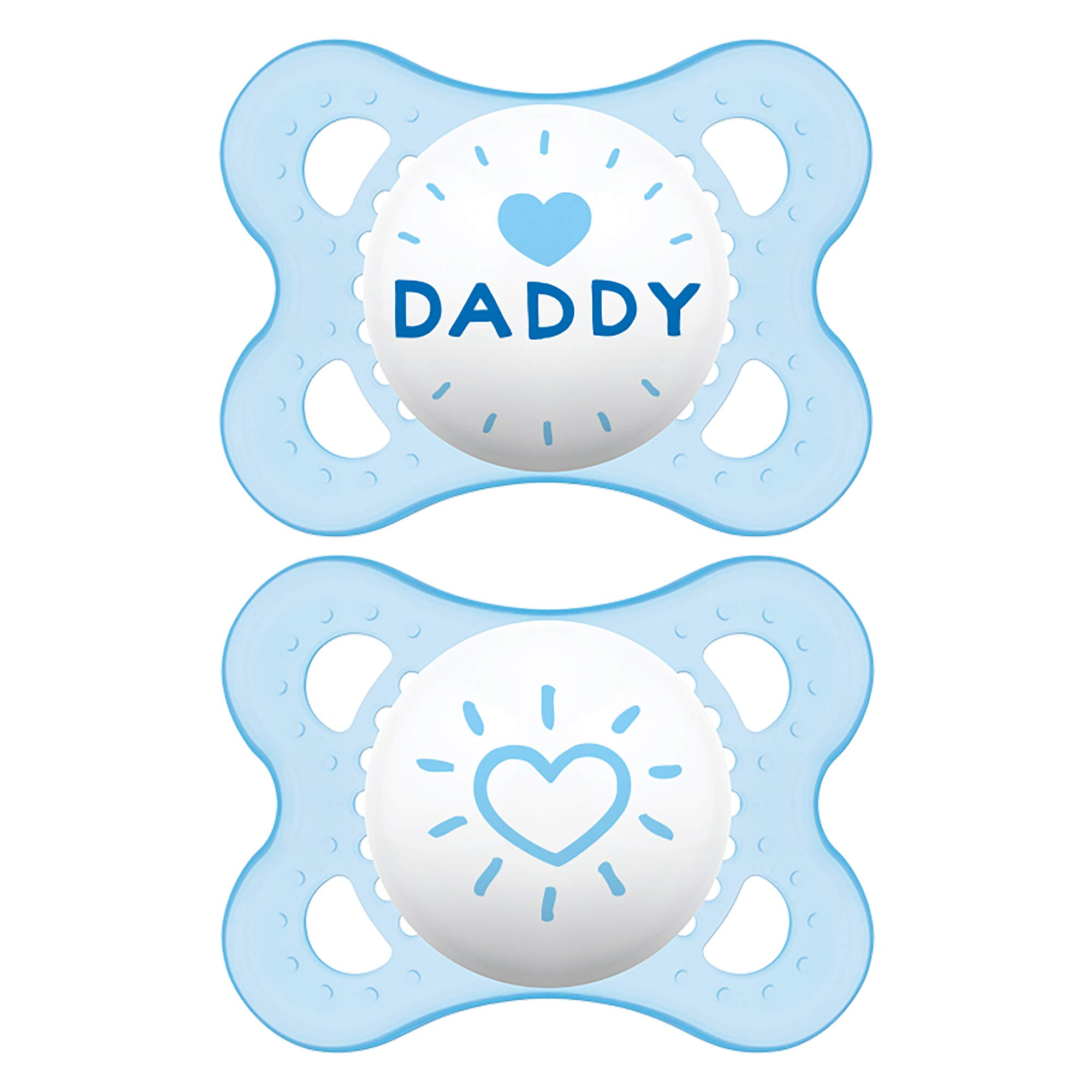 MAM I Love Daddy Collection Pacifiers (2 pack, 1 Sterilizing Pacifier Case), MAM Pacifier 0-6 Months, Baby Boy Pacifier, Best Pacifier for Breastfed Babies, Designs May Vary