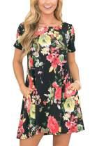 Womens Swing Short Sleeve Loose Flowy Floral Printed Pocket Bohemian Casual T Shirt Dress Black M