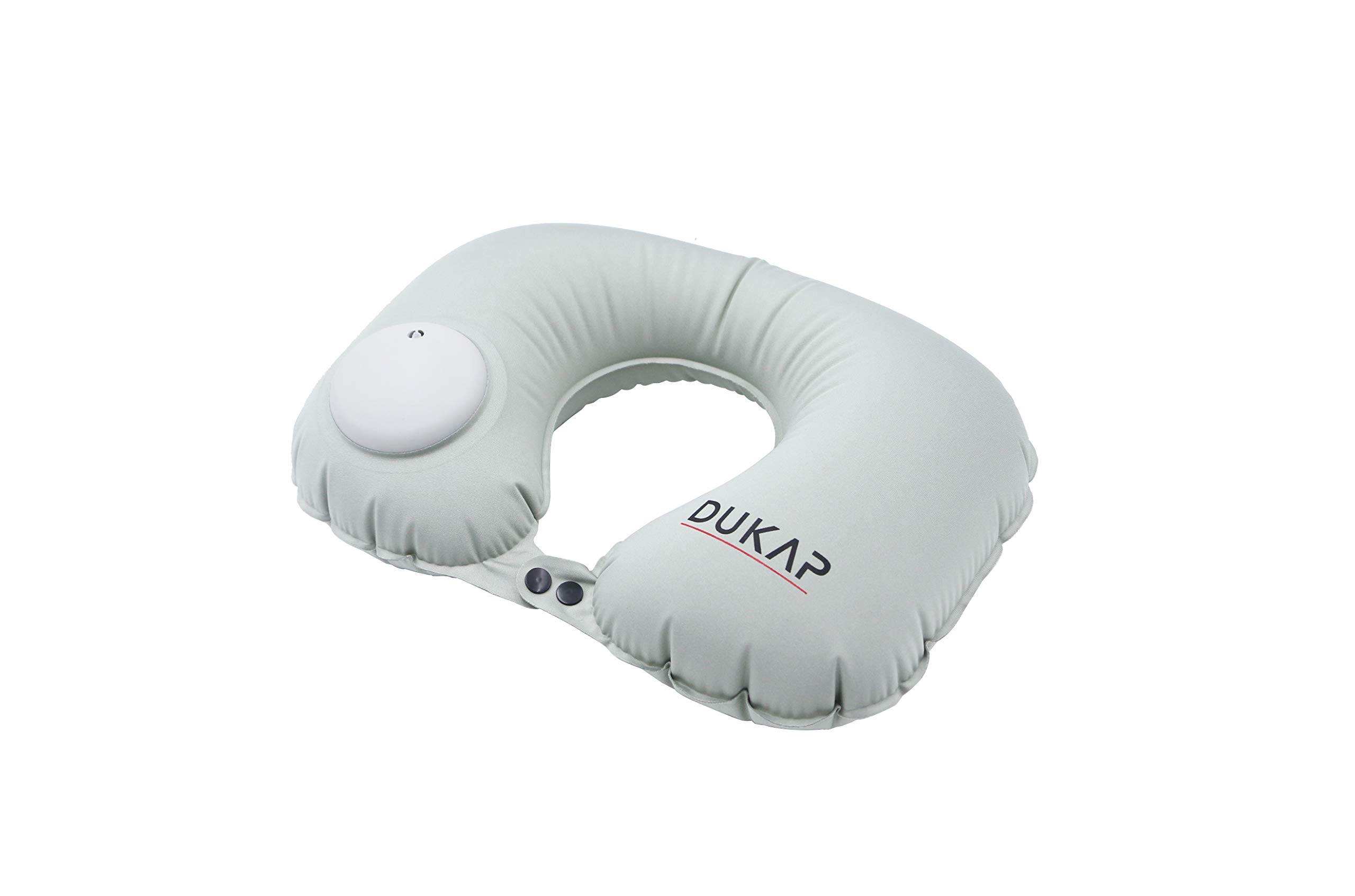 DUKAP Travel Accessories Travel Neck Pillow - Auto Inflatable Air Pump - My Pillow for Neck Support - The Perfect Airplane Travel Cervical Pillow - Easy to Bring in Any Travel Bag or Backpack -