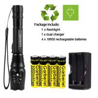 Garberiel LED Torch Light with Battery and Charger, 2000 Lumens Waterproof Zoomable LED Flashlight Rechargeable Camping Torch