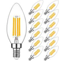 Svater 12 Pack 4W Led Candle Bulbs, 60-Watt Equivalent, E12 Candelabra Base B11 Clear Filament Vintage Style Light Bulb 2700K Warm White,400LM, Non-Dimmable