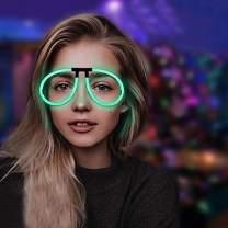 Lumistick Aviator Glow Eyeglasses | Light Up Neon Glow Eyewear | Illuminating Eye-catching Party Wear | Non-Toxic & Kids Safe Light Up Fluorescent Specs with Connectors (Aqua, 50 Eyeglasses)