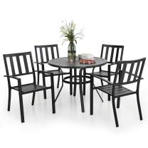 PHI VILLA 5 Piece Outdoor Patio Dining Table Set, Round Metal Dining Table with Umbrella Hole & 4 Metal Chairs for Porch, Yard, Deck