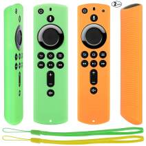 [2 Pack] Remote Slicone Cover for Fire TV Stick 4K / Fire TV Cube/Fire TV (3rd Gen) Compatible with All-New 2nd Gen Alexa Voice Remote Control (Green and Orange)