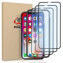 MANTO 3-Pack Screen Protector for iPhone 11 Pro and iPhone Xs X 5.8 Inch Full Coverage Tempered Glass Film Edge to Edge Protection, Black