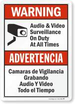 """Warning - Audio & Video Surveillance On Duty At All Times"" Bilingual Sign By SmartSign 