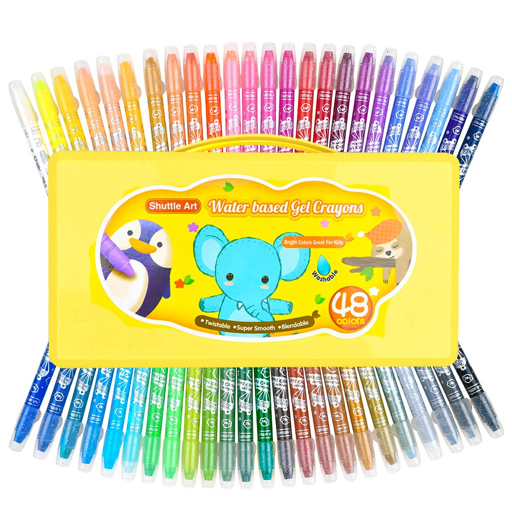 48 Colors Gel Crayons for Toddlers, Shuttle Art Non-Toxic Twistable Crayons Set with 1 Brush and Foldable Case for Kids Children Coloring, Crayon-Pastel-Watercolor Effect, Ideal for Window Paper Glass