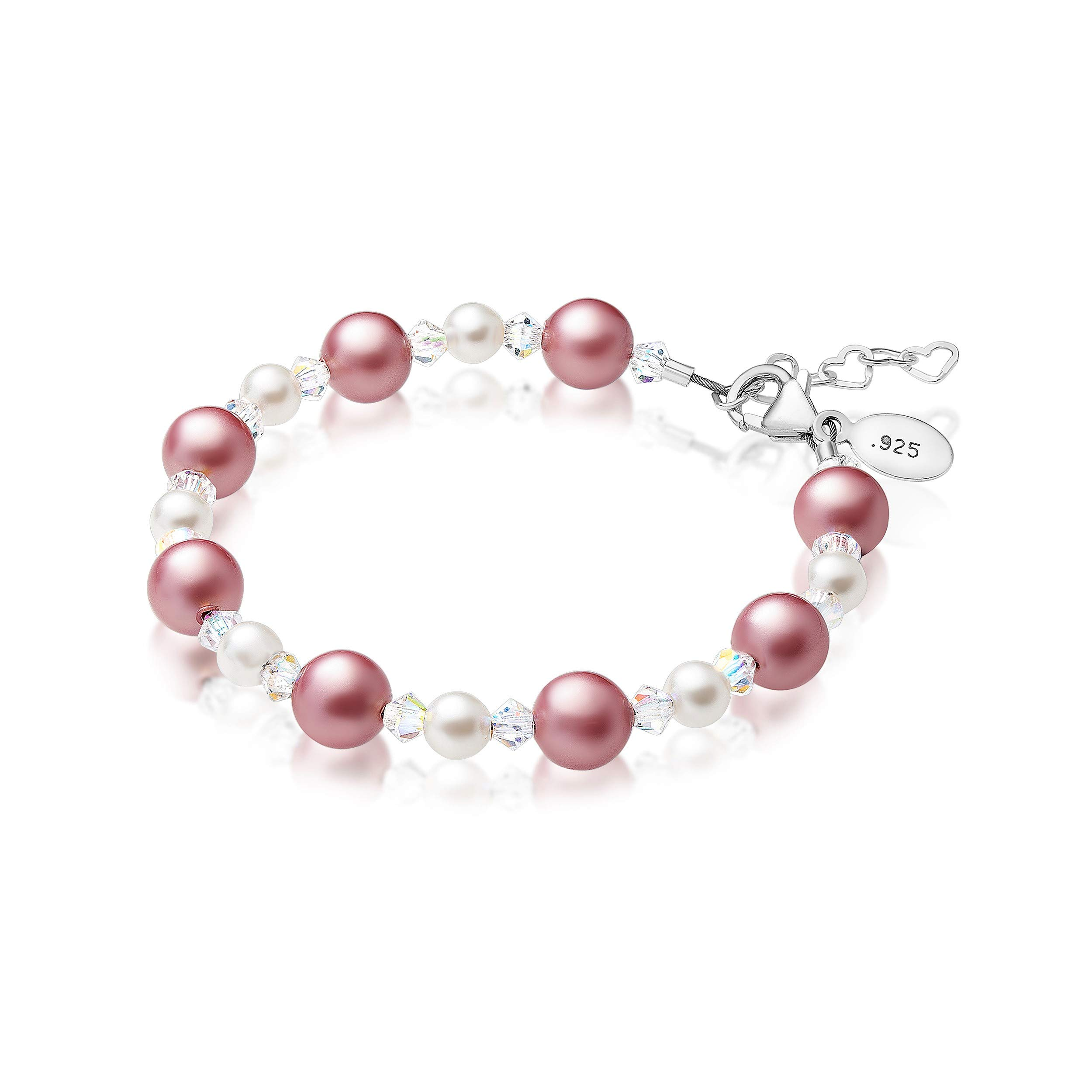 Baby Crystals Sterling Silver Bracelet for Young Girls |Girly Gifts for Girls | Children's Jewelry for Little Girls Embellished with Simulated Pearls & Crystals from Swarovski (18 Months -4 Years)