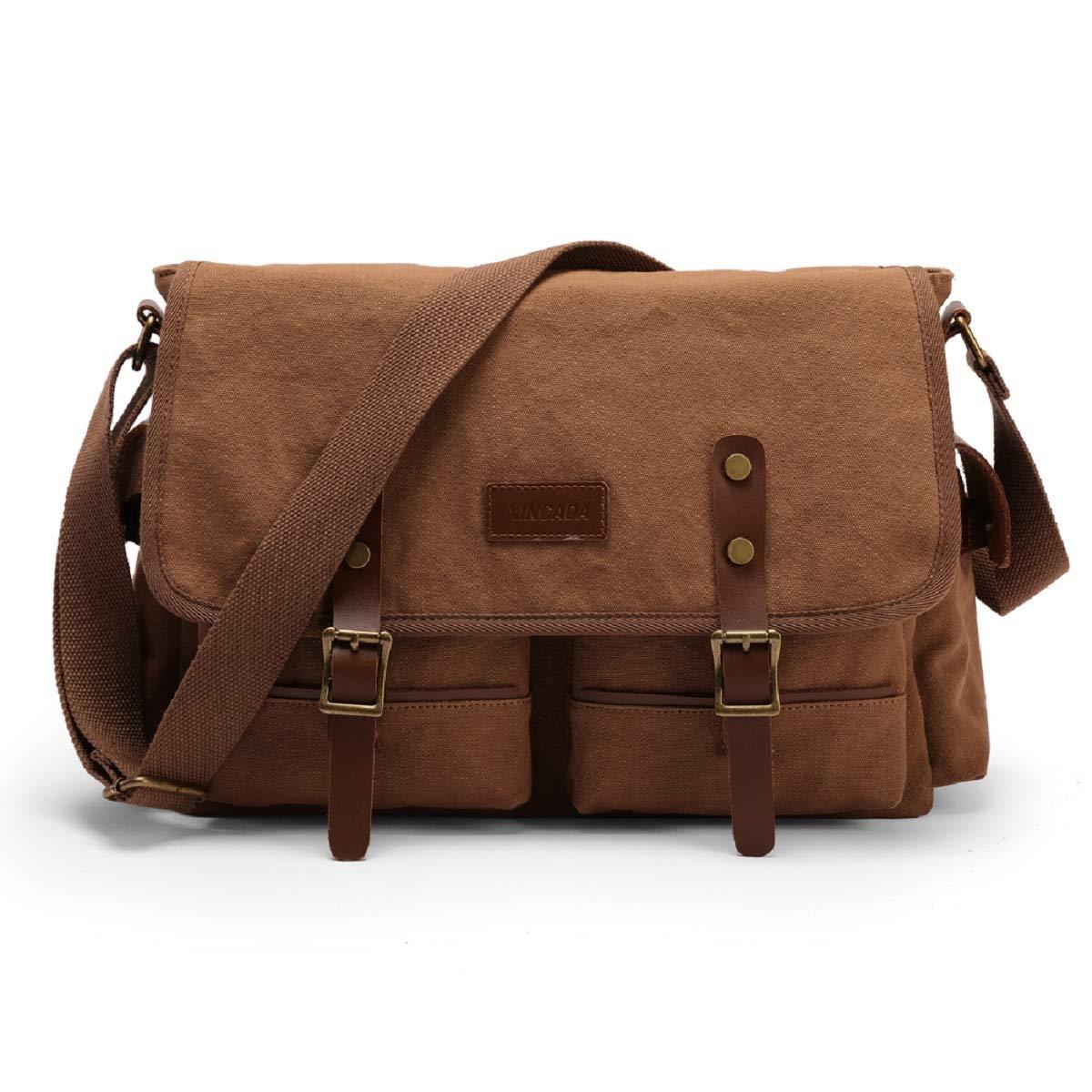 XINCADA Vintage Canvas Bag Messenger Bag Laptop Shoulder Bags Satchel School Bag for Men