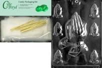 Cybrtrayd Assorted Praying Hands Chocolate Candy Mold with Chocolate Packaging Bundle, Includes 25 Cello Bags, 25 Gold Twist Ties and Exclusive Cybrtrayd Copyrighted Chocolate Molding Instructions