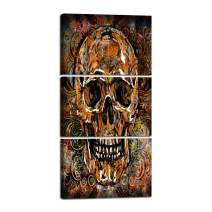 Canvas Wall Art Skeletons Design Group Painting,Giclee Day of The Dead Skull Face Artwork Contemporary Pictures Abstract Framed Decor for Living Room 3 Pieces Stretched Ready to Hang(24''Wx48''H)