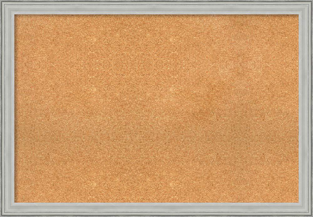 Framed Natural Cork Board Bulletin Board | Natural Cork Boards Bel Volto Silver Frame | Framed Bulletin Boards | 39.00 x 27.00 in.