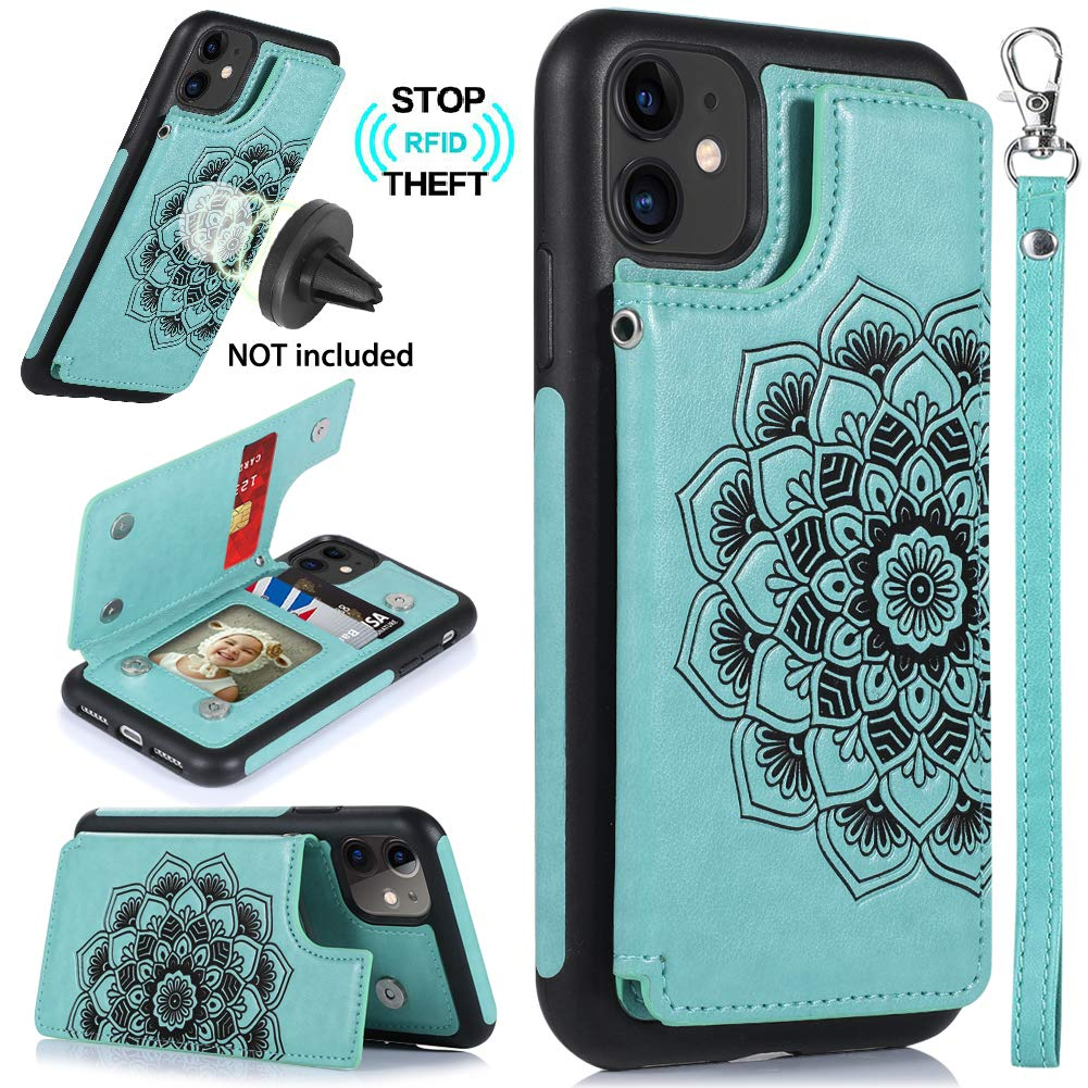 CASEOWL iPhone 11 Case,iPhone 11 Wallet Case with Card Holder,RFID Blocking,Kick Stand,Wrist Strap,Fit Magnetic Car Mount,Mandala Embossed Leather Back Flip Cover Case for iPhone 11(2019),Turquoise