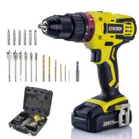 CACOOP 20v cordless hammer drill set with battery and charger,442lbs/50nm torque,21+3 position,2Ah battery,1/2 keyless chuck,1H Fast charger,Variable Speed for concrete wood brick metal