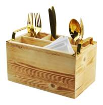 Spiretro Flatware Caddy, Cutlery Utensil Holder, Silverware Condiment Organizer for Kitchen, Dining, Entertaining, Tailgating, Picnics, 4 Compartments,Solid Torched Wood with Golden Metal Handle-Beige