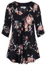 Nandashe Women's Roll-up 3/4 Sleeve Round Neck Flowy Blouses Floral Tunic Tops