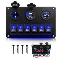 Marine Rocker Switch Panel 6 Gang Waterproof Boat Toggle Switches with Digital Voltmeter, Double USB Power Charger and 12V Cigarette Lighter Socket for Car Boat Truck Jeep Yacht Goft Cart
