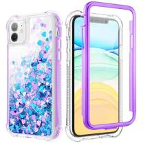 Caka Case for iPhone 11 Glitter Case Protective Full Body Liquid Bling Heavy Duty with Built in Screen Protector Love Glitter Clear Women Girl Case for iPhone 11 (6.1 inch)(Blue Purple)