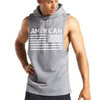 PAIZH Men's Gym Hooded Tank Top Workout Bodybuilding Sleeveless Muscle Hoodies