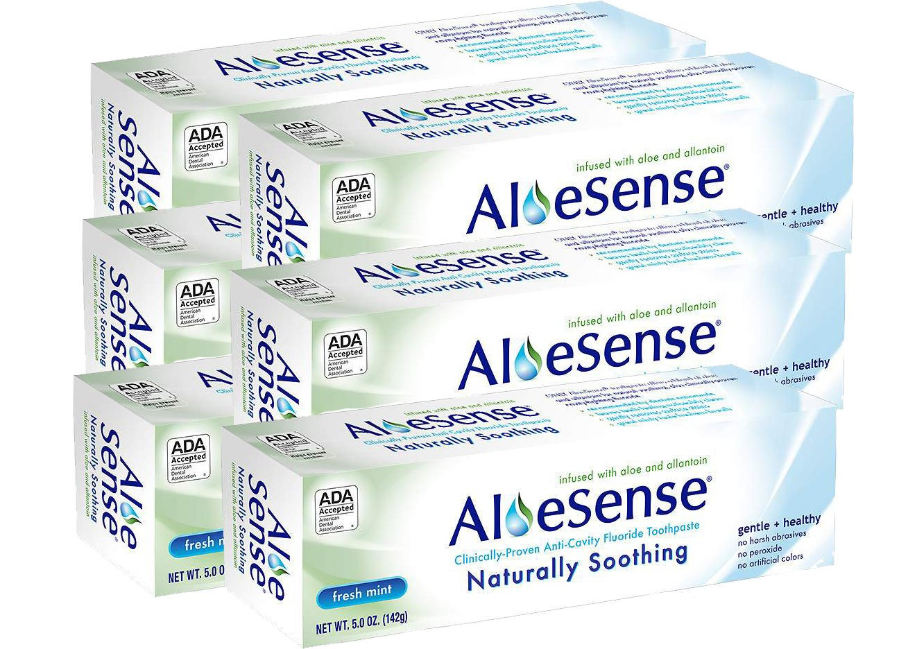 AloeSense Naturally Soothing Fluoride Toothpaste, Fresh Mint, 5 oz (6 Count)