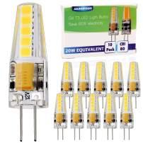 10pcs G4 Base LED Bulb, 20W Glass Halogen (Daylight White 6000K) Light Bulbs Replacement, 12-24V AC/DC, 2 Watt / 230 Lumens, JC T3 Lamp for Under Cabinet Puck Light, Chandelier, Landscape Lighting