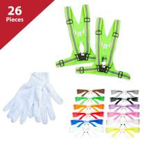 26 Piece Cycling Kit | 2 Yellow Reflective Fluorescent Belts, 12 pc Knit Cotton Gloves, 12 PAIRS of Clear Lens Color Temple Assorted Safety Glasses
