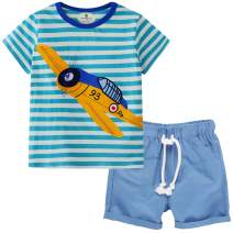 Little Boys Kids Summer Cotton Dinosaur Aircraft Truck Print Tee and Shorts Set Outfits Clothing Sets 2-7T