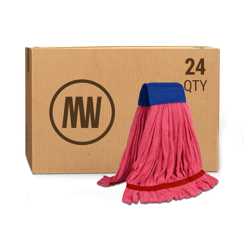 Bulk Large Microfiber Tube Mop Head (18 oz.) | Wholesale Commercial Industrial Wet Mops | Machine Washable | Red | Case Quantity (24 Count)
