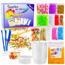 OPount 28 Pack Supplies for Making Slimes Including Fishbowl Beads, Foam Balls, Storage Containers, Confetti, Fruit Slices and Instructions for Slimes Making Art DIY Craft(Not Contain Slimes)