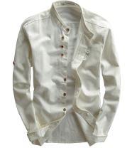 utcoco Men's Vintage Linen Stand Collar Button Up Shirt Long Sleeve