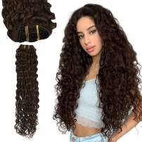 Ugeat Human Hair Extensions Clip on 20 Inch Clip in Hair Extensions Remy Human Hair 7PCS Clip in Deep Wave Hair Extensions Human Hair Brown #4 Extensions for Women Clip in