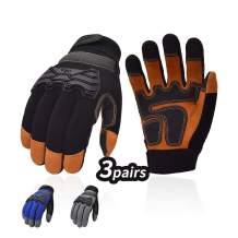 Vgo 3Pairs Premium Soft Genuine Deerskin Split Leather Touchscreen Anti-Vibration Medium Duty Work Gloves for Construction, Rigger Glove(Size M, Black&Grey&Blue, DB9703)