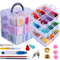 212 Pack Embroidery Floss Set Including 150 Colors Cross Stitch Friendship Bracelets Thread with Floss Bins and 62 Pcs Cross Stitch Tool,3-Tier Transparent Box for Storage
