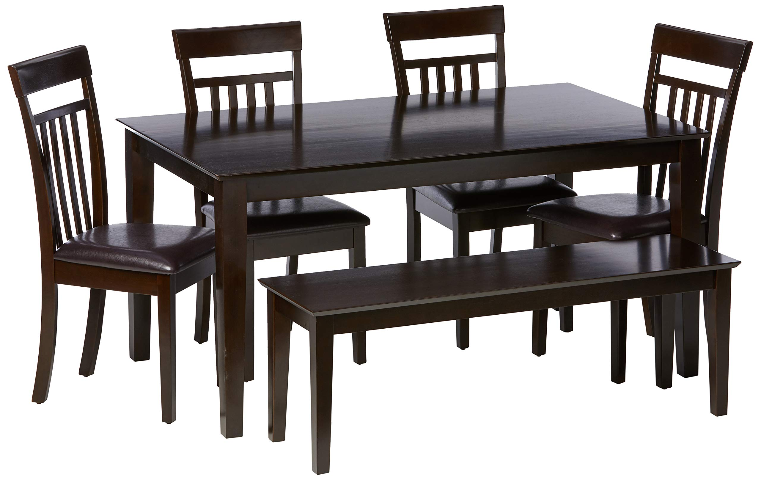 East West Furniture CAP6S-CAP-LC Dining Room Table Set 6 Piece - PU Leather Wood Dining Chairs Seat - Cappuccino Finish Small Dining Table and Dining Bench