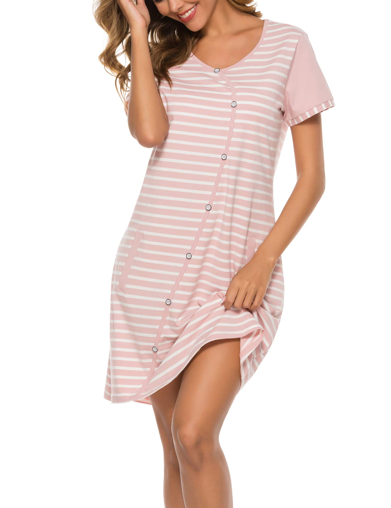 COLORFULLEAF Sleep Dress for Women Striped Cotton Nightgown Short Sleeve Nightshirt