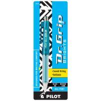 PILOT Dr. Grip Brights Refillable & Retractable Ballpoint Pen, Medium Point, Blue Barrel, Black Ink, Single Pen (36155)