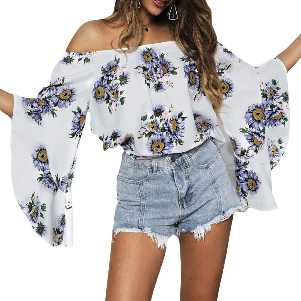 Daxvens Sunflower Off The Shoulder Blouse for Women, Summer Ruffle Long Sleeve Floral Tops Shirt