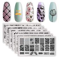 BORN PRETTY Flower Theme Rectangle 6 Nail Art Stamp Template Multi-Pattern Stamp Image Plate Combination Set DIY Manicuring Template