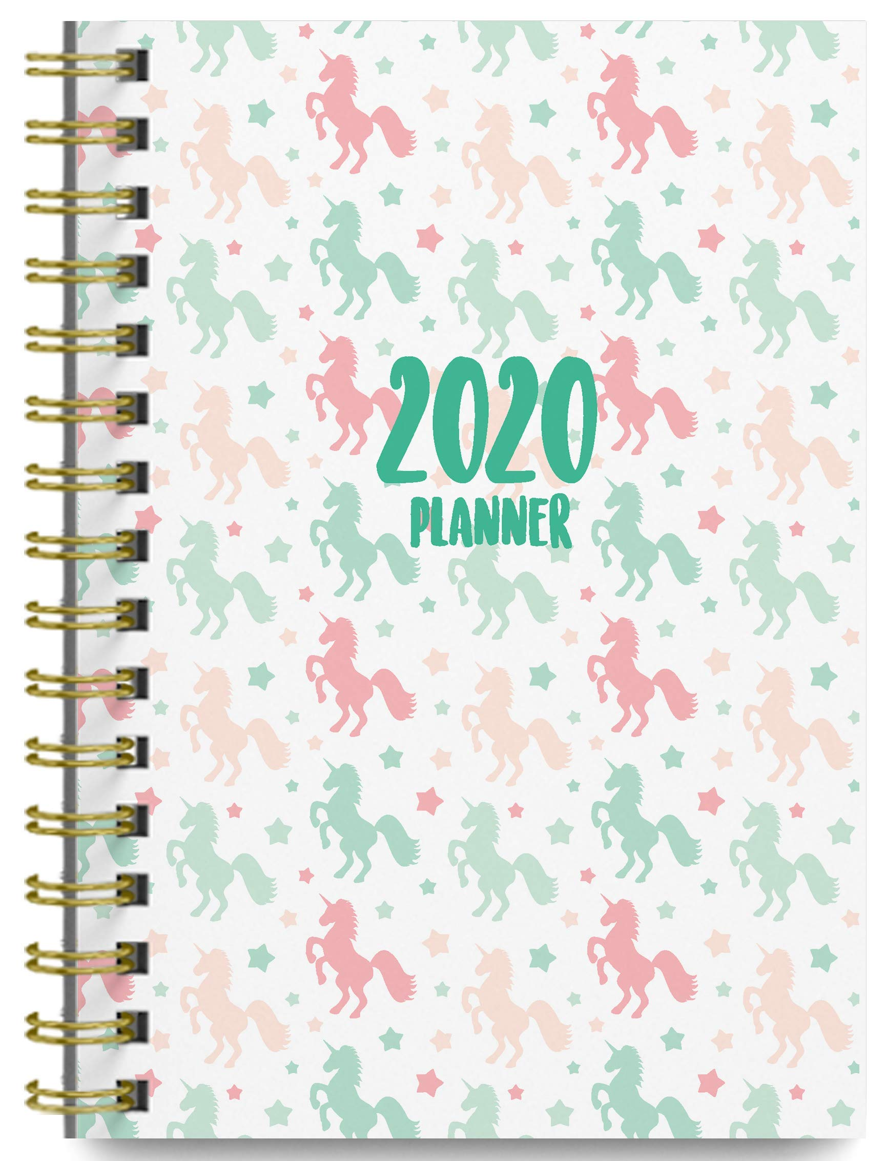 2020 Unicorns Soft Cover Academic Year Day Planner Book by Bright Day, Weekly Monthly Dated Agenda Spiral Bound Organizer, 16 Month Calendar 6.25 x 8.25 Inch,