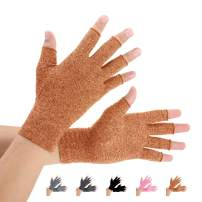 2 Pairs Arthritis Compression Gloves for Arthritis Pain Relief, Rheumatoid, Osteoarthritis and Carpal Tunnel for Men and Women, Fingerless for Typing (Brown, Large)