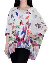FeelMeStyle Womens Boho Shirts Half Sleeve Dolman Chiffon Blouse Tee Oversized Tops